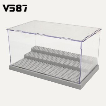 Harga 3 Steps Display Case/Box Dustproof ShowCase Gray Base For LEGO Blocks Acrylic Plastic Display Box Case 25.5X15.5X13.8cm - Intl