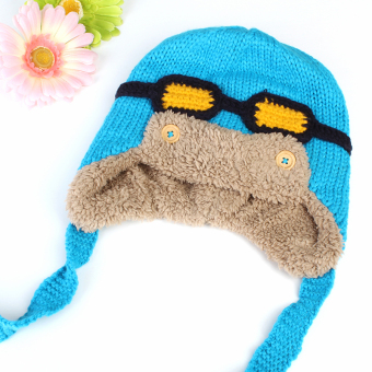 Harga Channy Toddlers Baby Boy Girl Kids Winter Warm Earflap Cap Pilot Aviator Beanie Hat Sky Blue