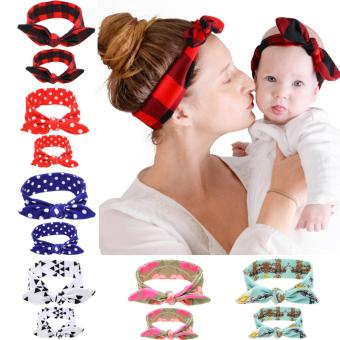 Harga Baby and Mother Headband Set Hair Bows Turban Head Wrap Knotted Hair Band (Red) - intl