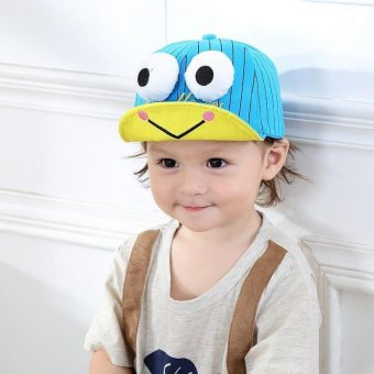 Harga Fashion Cute Children Hat Big Eyes Frog Printing Baby Embroidery Tongue Cap Hat- blue - intl