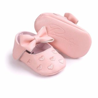 Harga Newborn Baby Girl Soft Soled Shoes Breathable Comfortable Anti-slip Footwear PU Leather Baby Shoes - intl