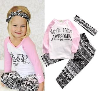 Harga 3pcs/Set kids girls sets clothes Headband+long Sleeve T shirt+pants Children's Clothing Set Girls Clothes Suits - intl