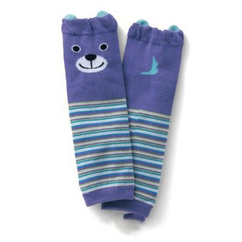 Hanyu Baby Boys Girls Cartoon Bear Long Thicken Coral Cashmere Anti-Slip Socks Dark Blue - intl