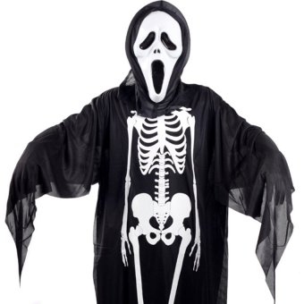 Harga adult Ghost Skeleton Clothes for cosplay Halloween + 1x free mask