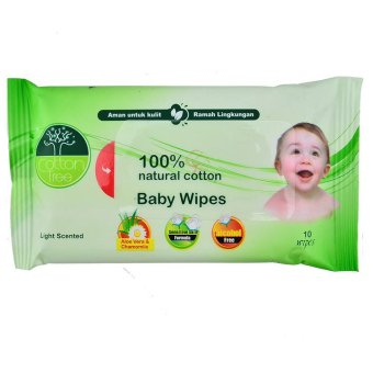 Harga Cotton Tree Baby Wipe Scented isi 10