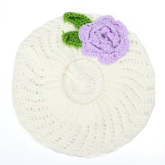 Harga Baby Knitted Beanie Flower Hat Toddler Girls Hand Crochet Beret Winter Warm Cap White