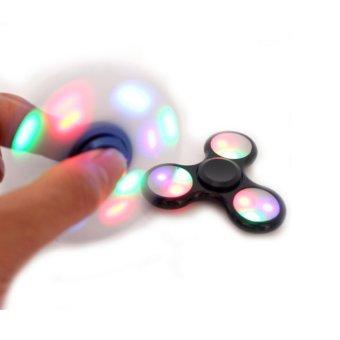Harga ANGEL LED Fidget Spinner Hand Toys Mainan Tri-Spinner EDC Ceramic Ball Focus Games Penghilang stress Warna Hitam