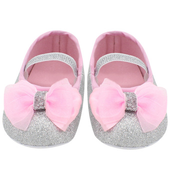 Harga GDS Baby Girl Lace Shoes Toddler Prewalker Anti-Slip Shoe(Silver) - intl