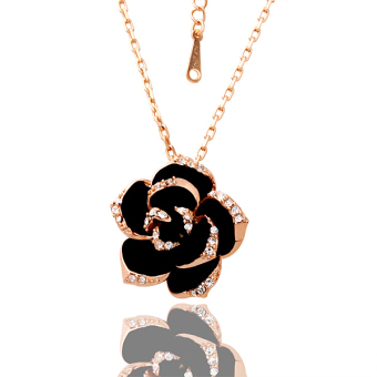 Harga BolehDeals Rose Gold Color Chain Necklace with Black Rose Pendant
