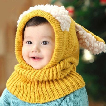Harga 2016 new warm winter crochet baby hat for girls boys cute animal shaped wool hat lovely ear cashmere shawl hat baby---yellow (Intl)