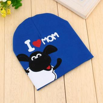 Harga Knitted Warm Cotton I LOVE DAD Pattern Baby Hat Blue - intl