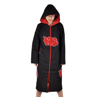 Halloween Japanese Anime Naruto Cosplay Jacket Costumes Naruto Ninja Shirt Clothing Akatsuki Uchiha Itachi Costume Accessories (Size:XXL)
