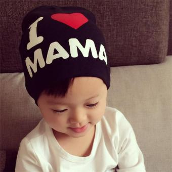 Harga 2pcs / lot I love my father and mother super popular children baby hat(Black) - intl