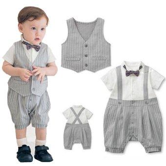 Belle Maison - Baby Boys - Tie and Vest - Formal Romper - Abu-abu