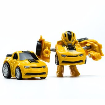 Harga Hanyu Hornets King Kong Q Version Transformed Toys King Kong Mini Ransformer Robot Transforming Car Robot Toys-Yellow - intl