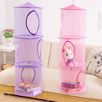 Harga 3 Shelf Hanging Storage Net Organizer Bag Bedroom Door Wall Closet Organizers