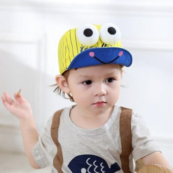 Harga Fashion Cute Children Hat Big Eyes Frog Printing Baby Embroidery Tongue Cap Hat- yellow - intl