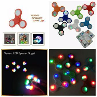 Harga ANGEL LED Fidget Spinner Hand Toys Mainan Tri-Spinner EDC Ceramic Ball Focus Games Penghilang stress Warna Random