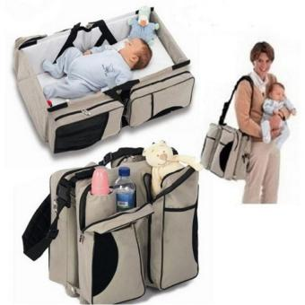 3 in 1 - Diaper Bag - Travel Bassinet - Change Station - (Cream) - Multi-purpose Baby Diaper Tote Bag Bed Nappy Infant Carrycot Crib Cot