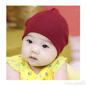 Harga Okdeals Unisex Infant Baby Boy/Girl Soft Cotton Beanie Hat Knitted Kid Winter Warm Cap Wine Red - intl