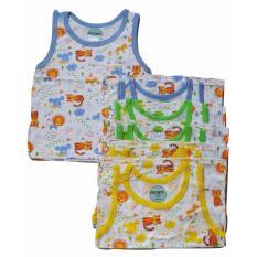 Jelova Baby Angela 6pcs Baju Kutung Baby Bayi Ridges Print Animal 6-12 Months - Mixcolour