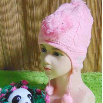 kembarshop - Topi Rajut Bayi Wol Soft Pinky Super Soft 0-2th