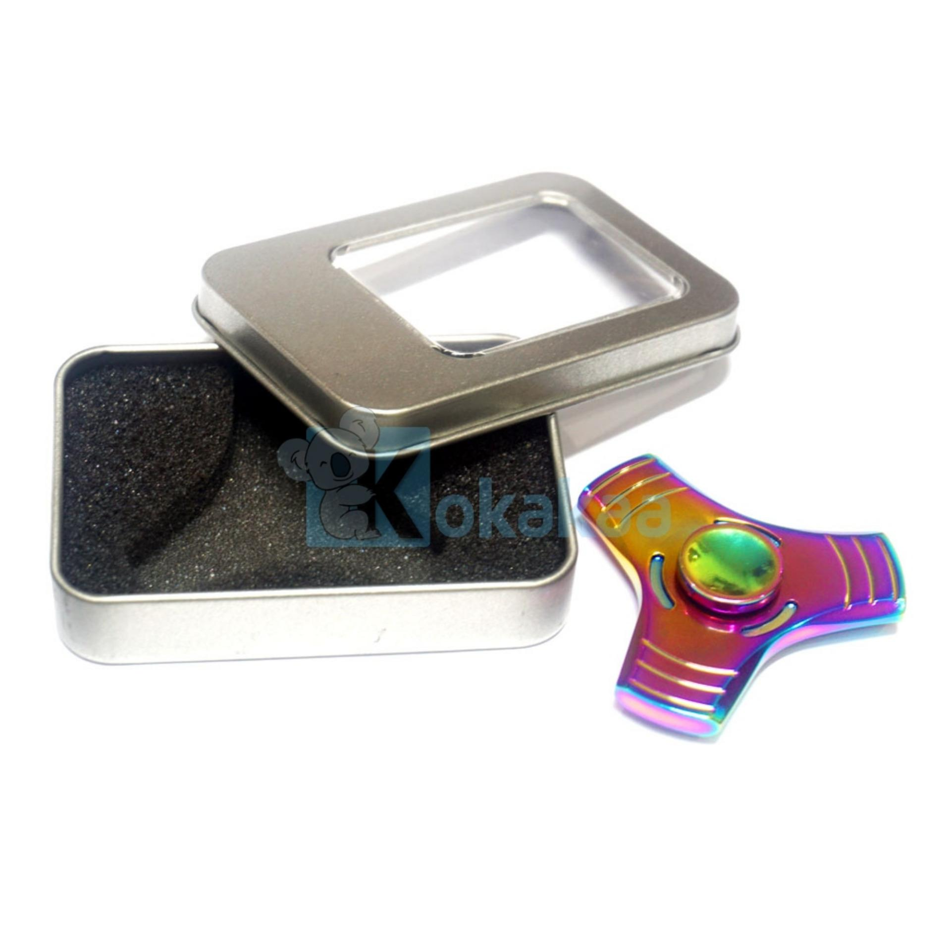 Kokakaa Fidget Hand Spinner Premium Rainbow Chrome 3 Sisi Kombinasi Gold Mainan Anti Stress .