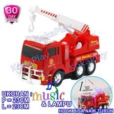 KokaPlay Fire Truck Bump and Go Mobil Pemadam Kebakaran Crane Hook Naik Turun Berputar Musik Piano Lampu