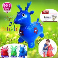 KokaPlay Jumping Animal Music Kids Toy Mainan Balon Kuda Kudaan Kerbau Sapi Rusa Loncat Musik - Random