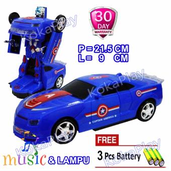 Jual Kokaplay Robocar Transformable Bump And Go Robot Car Transformers Mainan Robot Mobil Berubah Superhero Bumblebee Captain  Free 3 Baterai Murah