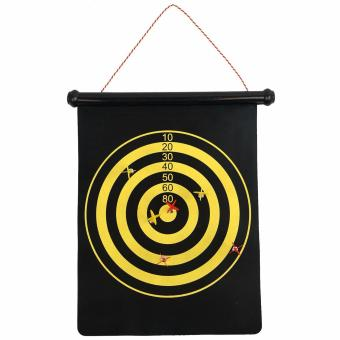 LaCarLa Double Sided Hanging Magnetic Dart Board Set Game 15 Inch with 6 Magnetic Arrow - Hitam - 2