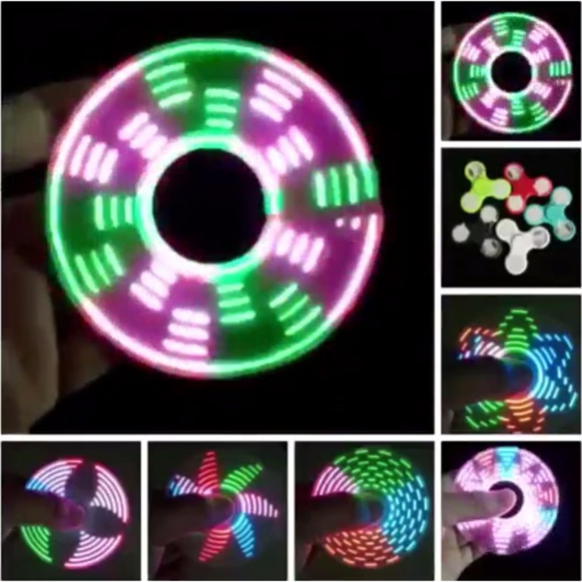 Lucky - LED Glow Nyala Gambar Warna Warni Fidget Spinner Hand Spinner Toys Focus Games Mainan