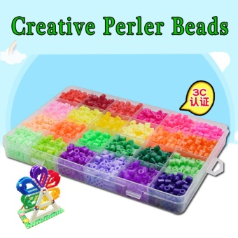 Jual Mini Perler Beads Fuse Beads Hama Kids Beads Kit 2400 Pcs 15 Colorscraft Beads For Children - Intl Murah
