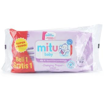 MITU baby Tissue basah with changing diaper wipes 50s ungu buy 1get 1 - MTB015