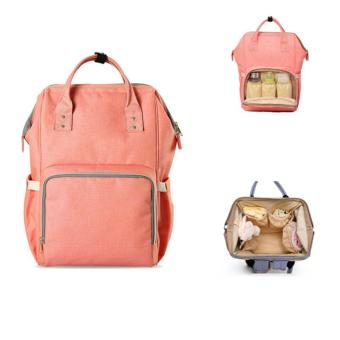 Multi-functional Backpack Travel Bag Baby Diaper Changing HandbagLarge Capacity Tangerine Pink - intl