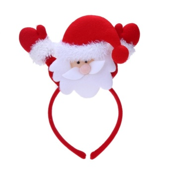 New Christmas Headbands Girls Santa Claus Pattern Hair Band Christmas Decoration (Red + White) - intl