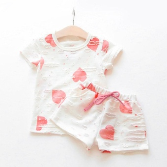 New Kids Baby Girls Short Sleeve T-Shirt + Short Pants Outfits SetClothing -Pink - intl