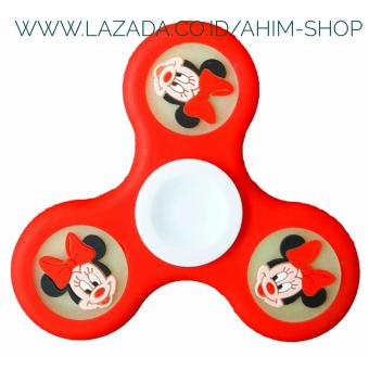 Harga New Series MINNIE Hand Spinner MOUSE Rubber PU Glow In The Dark Fidget Tri-Spinner Creative Hand Toys - MERAH (1 pcs)