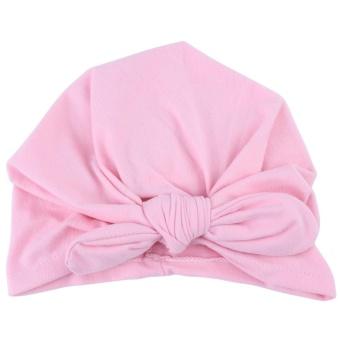 Newborn Baby Soft Turban Hat Warm Bonnet Hospital Cap with Bowknot Cute Infant Headwear(Pink