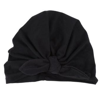 Newborn Baby Soft Turban Hat Warm Bonnet Hospital Cap with BowknotCute Infant Headwear(Black)