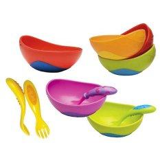 Nuby Sure Grip Bowl Fork Spoon - Warna Random