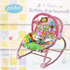 Pliko NEW PK-308B Bouncer 3-Phase Rocking Chair Hammock - Kursi Ayunan Bayi - Merah Muda