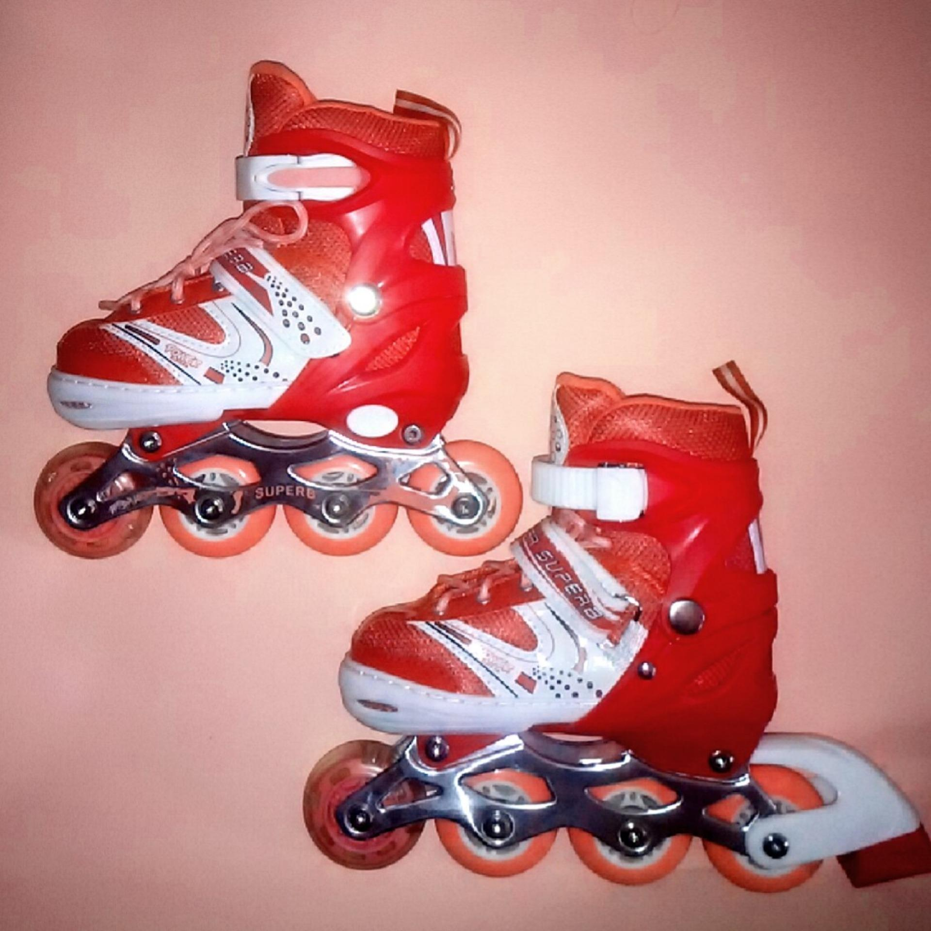 Terbaik Murah Power Super Inline Skate Sepatu Roda Anak Roda Karet ... 8f855d162f