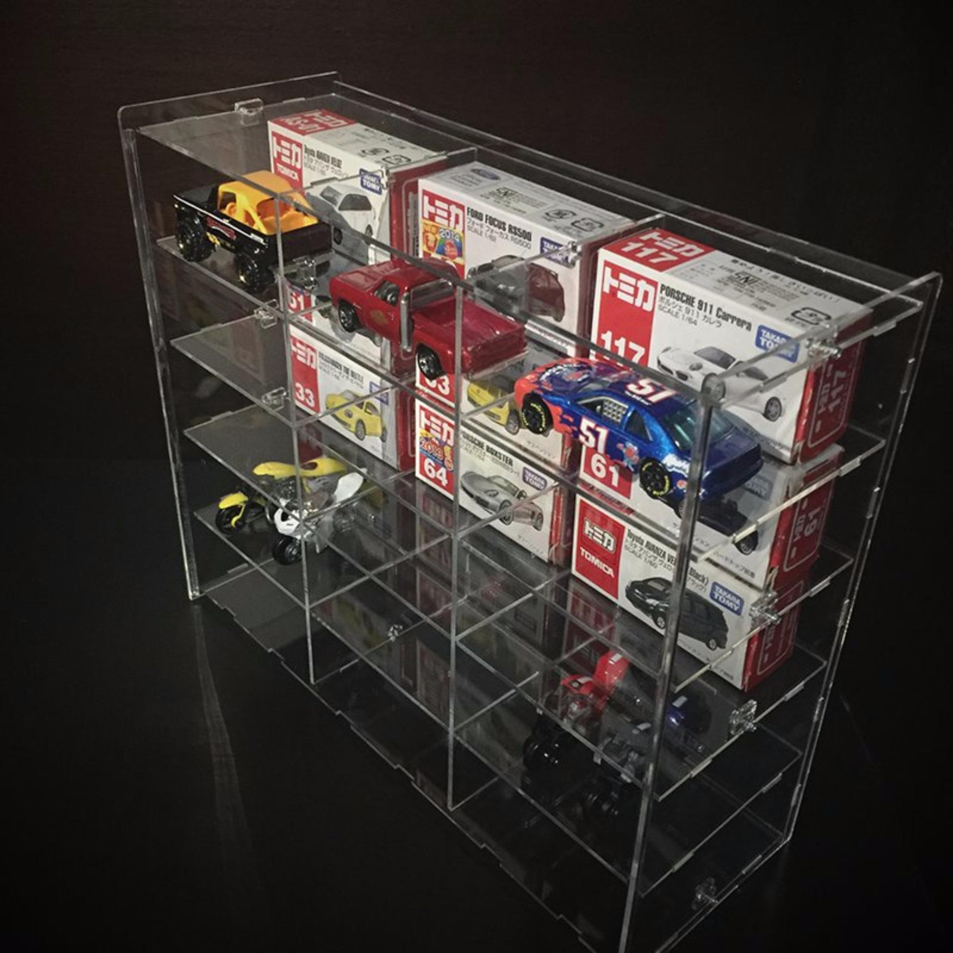 Harga Penawaran Rak Tomica Double Isi 15 Bahan Akrilik 2mm Flash Sale Diecast Mainan Hotwheels