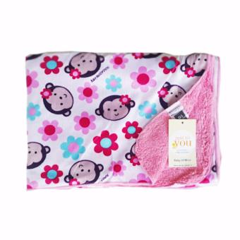 Selimut Bayi Full Cotton Motif FeMale Monkey Pink - Kode S252