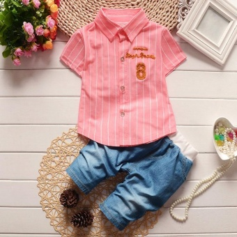Summer Boys Short Sleeve Stripe Shirt + Jeans Short Pants Set Infant Children's Clothing - intl