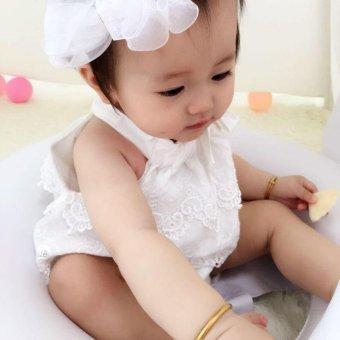 Detail Gambar Super Lucu bayi Girls renda Decor baju monyet Sleeveless Fashion indah Sablon Jumpsuit - white dan Variasi Modelnya