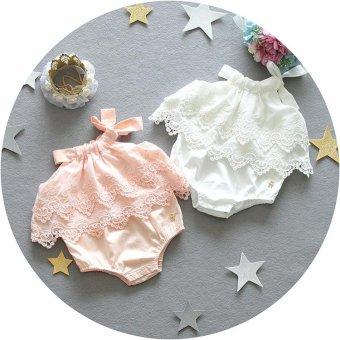 Super Lucu bayi Girls renda Decor baju monyet Sleeveless Fashion indah Sablon Jumpsuit .