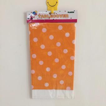 Table Cover / Taplak Meja Plastik Orange Polkadot