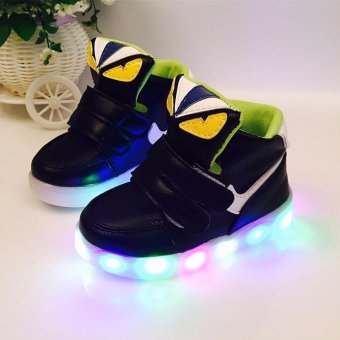The boys and girls High top Monster shoes LED lighting light sportshoes children baby shoes - intl